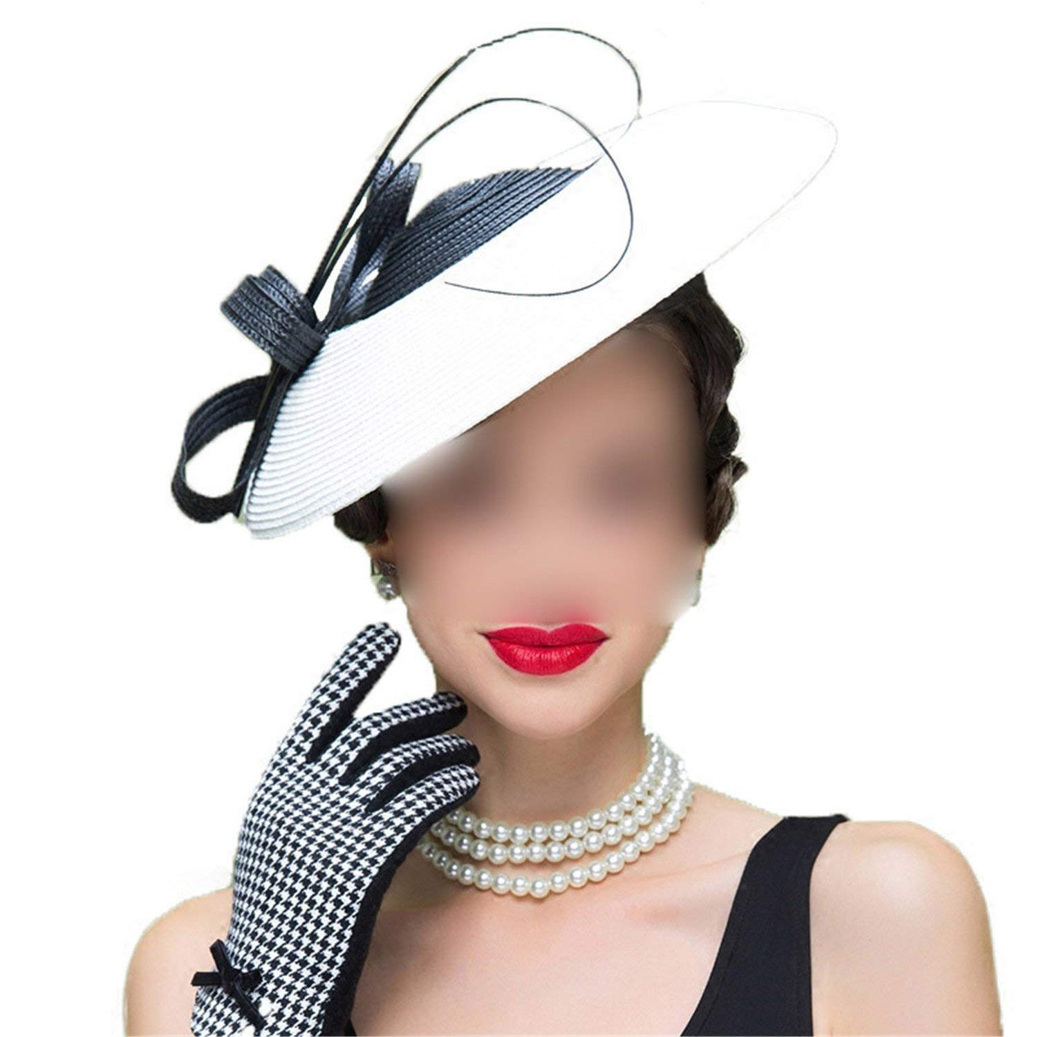 Get Quotations · Chiced Fascinators Patchwork Pillbox Hat for Weddings  Dress Women Straw Fedora Vintage Ladies Hats c8b16b749d1c