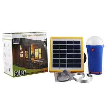 Cost-effective portable solar panel kit for home LED lamp with USB port for phone