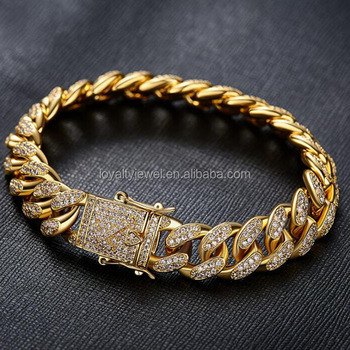 Hiphop Bracelet Br 18 Gold Plated Iced Out Zirconia Male