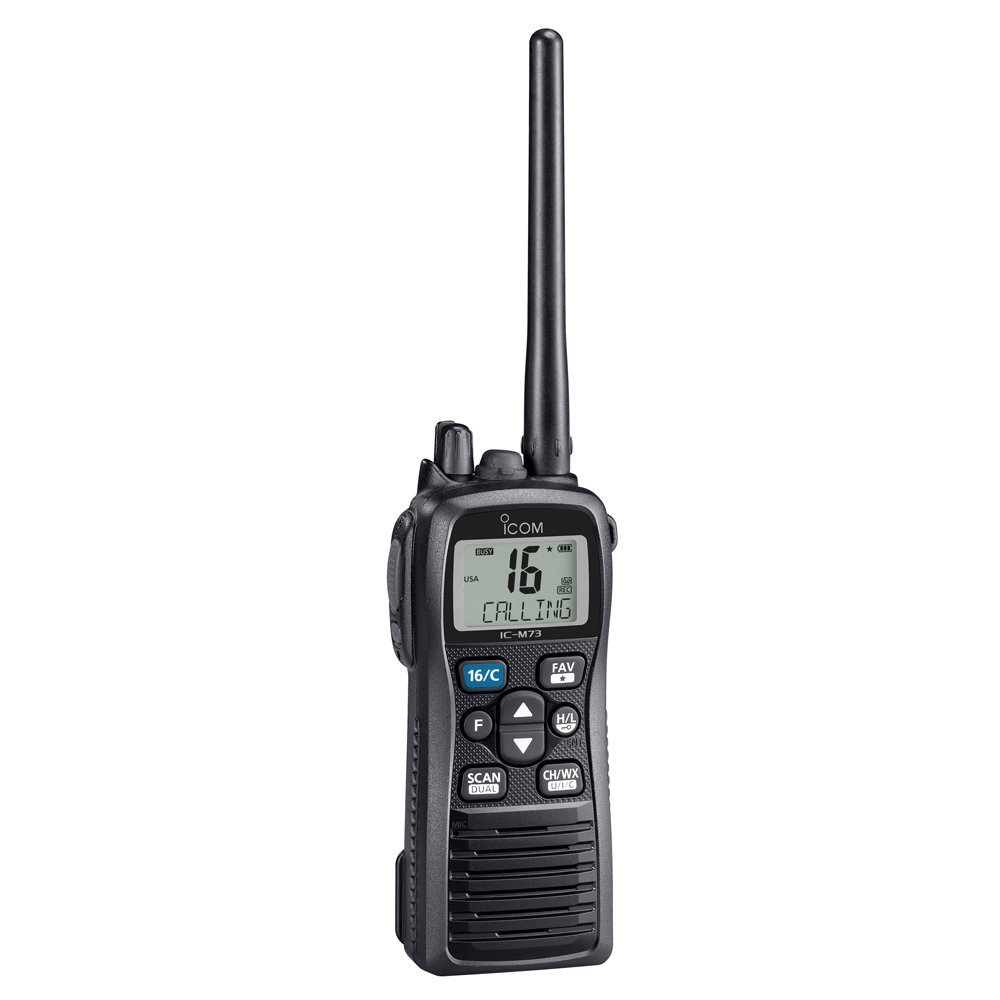 Icom M73 PLUS Handheld VHF - 6 Watts, IPX8 Submersible, Active Noise Canceling, Built-In Voice Recorder