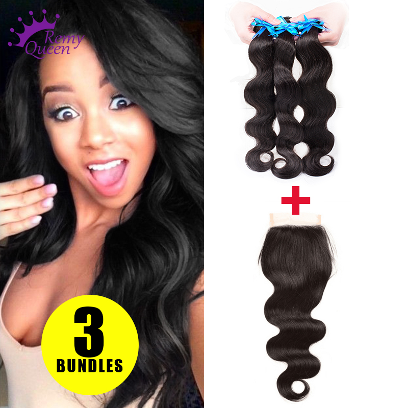 body wave indian virgin hair lace closure 3 bundles human hair remy queen hair with closure