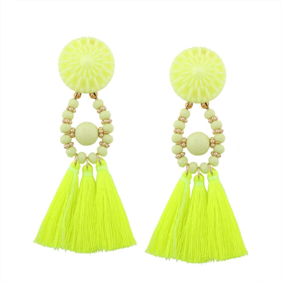 Clearance Deal! Hot Sale! Necklace, Fitfulvan 2018 Fashion Bohemian Earrings Women Long Tassel Fringe Dangle Earrings Jewelry Mother's Day Pendant Necklace Gifts Jewelry (yellow)