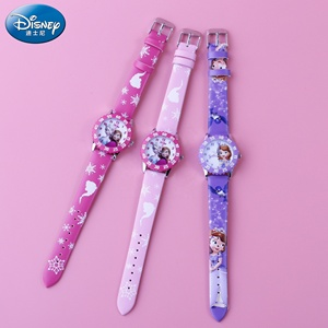 Popular 3D Printing Kids PU Leather Band Frozen Girls Watch with Disney FAMA