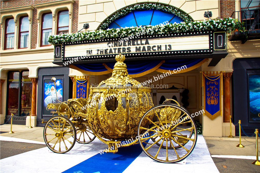 BISINI Princess Cinderella Pumpkin Car luxury horse saddle royal golden carriage wedding carriage(BG11-M052)