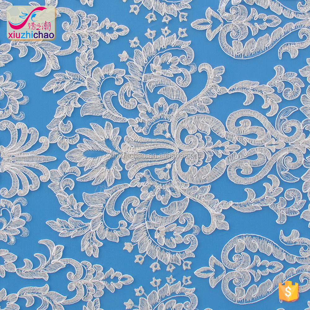Y1006Turkey hot sale designs cording sequins white wedding fabric nice lace fabric for wholesale