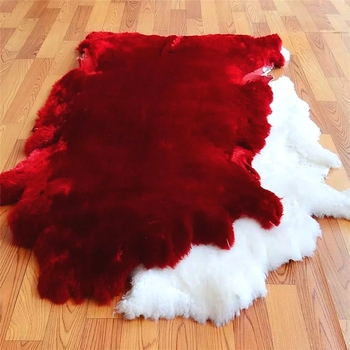 High Density Real Dyed Shearling Sheepskin Single Natural Rugs Whole Rug Plate