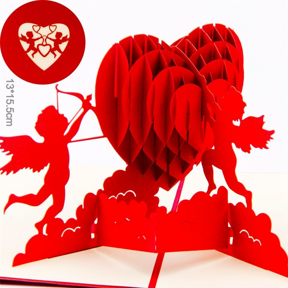 get quotations paper spiritz cupids heart pop up valentine cards for couples her husband women pop up