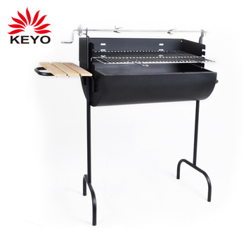 Oil Drum Outdoor Barbecue Charcoal India Bbq Barrel Shaped Grill With Rotisserie