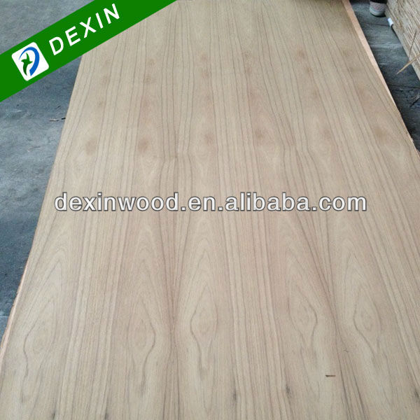 Straight Line or Crown Flower Grain Natural Teak Faced Plywood