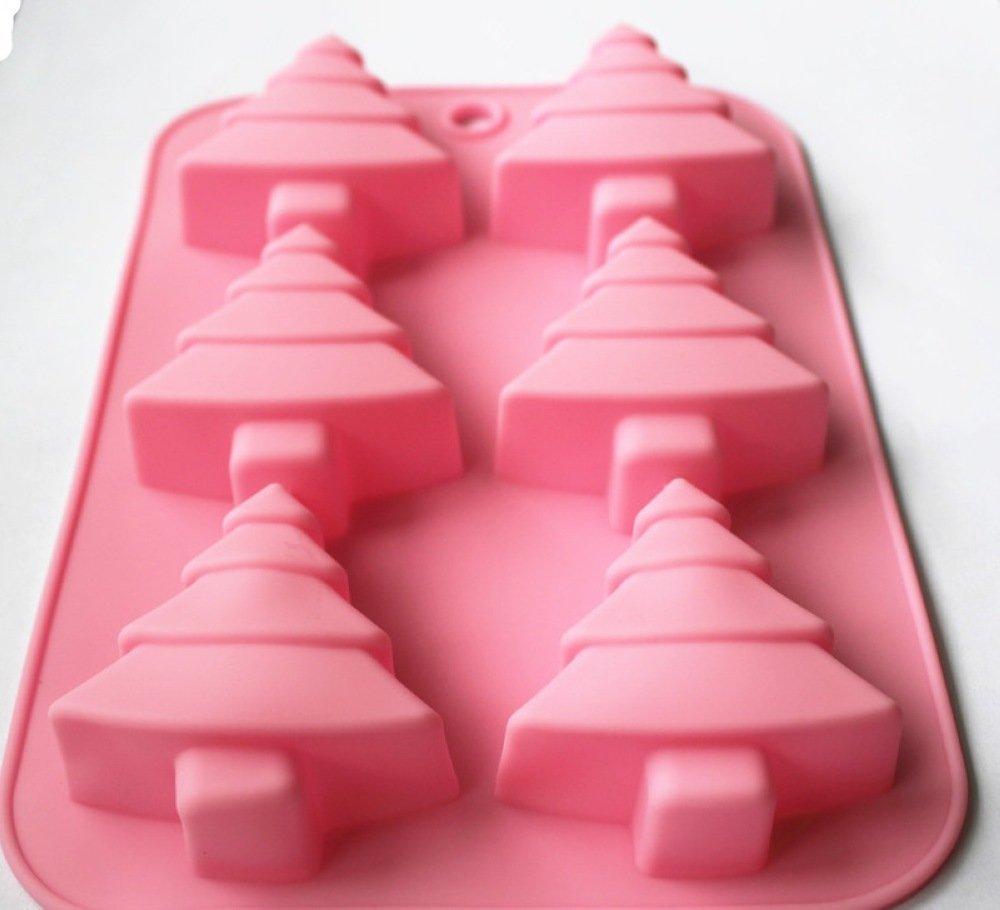 Longzang 6-Cavity Christmas Tree Silicone Cake/Soap Mold