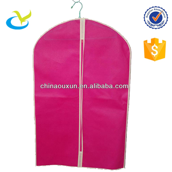Whole Heavy Duty Pp Nonwoven Zipper Name Brand Garment Pink Suit Bag Cover