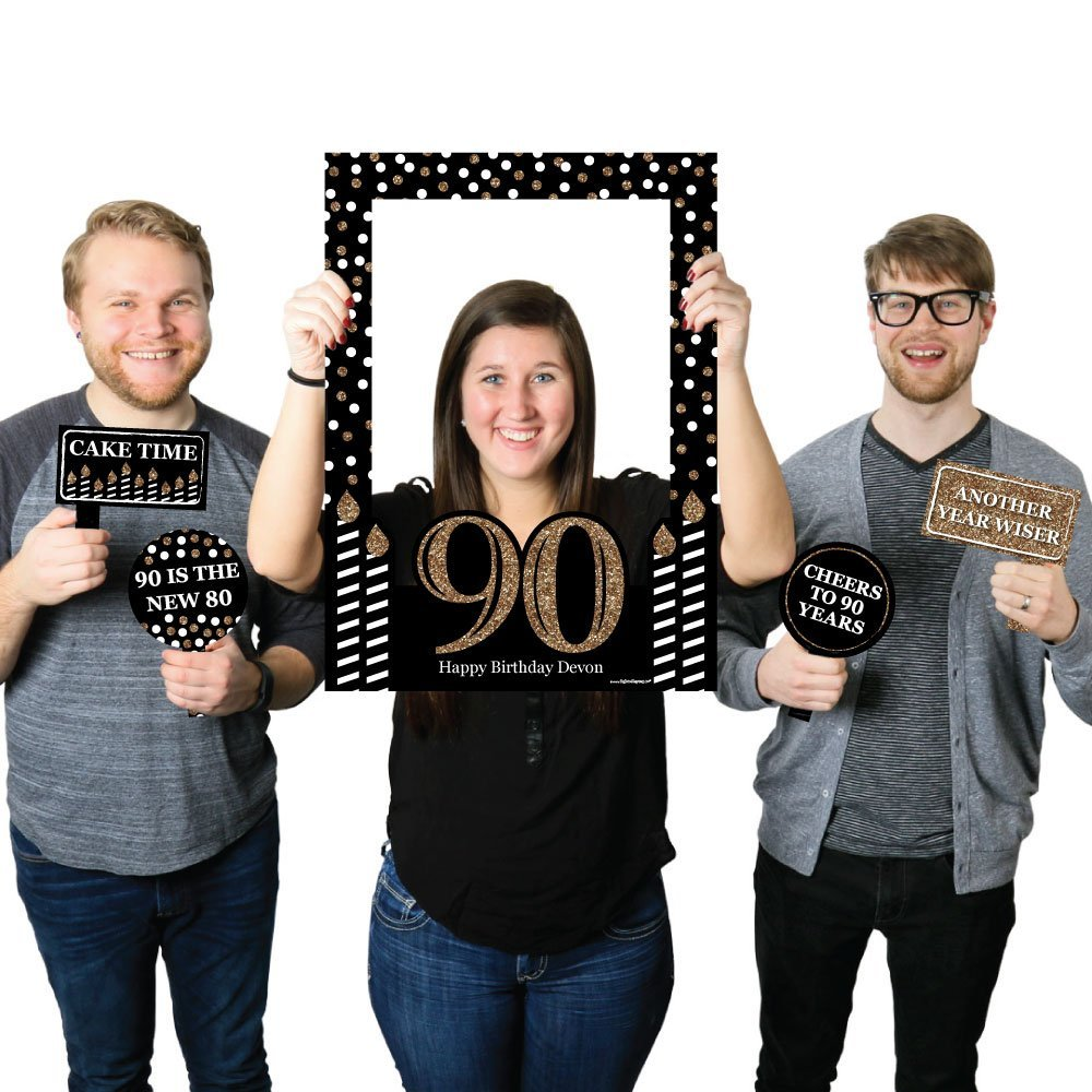 Big Dot of Happiness Custom Adult 90th Birthday - Gold - Personalized Birthday Party Selfie Photo Booth Picture Frame & Props - Printed on Sturdy Material
