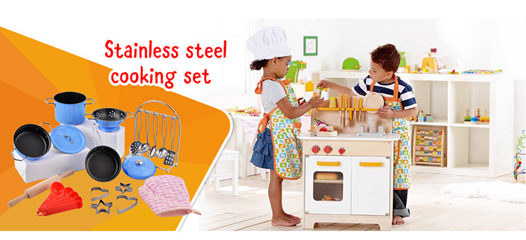 Educational Cheap Stainless Steel Children Play Kitchen Set Toy