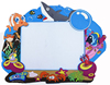 3d OEM brand PVC rubber sea animal shaped photo picture frame insert for gift blue color