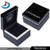 Custom small luxury black lacquered wooden coin gift box manufacturer