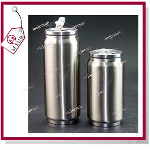 OEM customized thermal can mug with flip-up straw can shape coffee tumbler