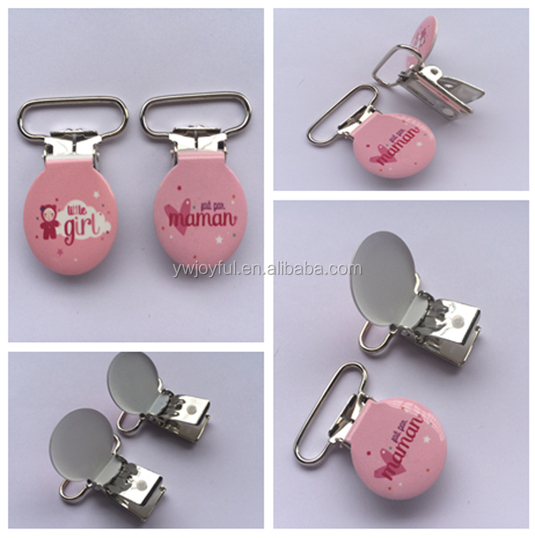 dda7f626a Factory wholesale engraved logo suspender clips round shape stainless steel  pacifier clips