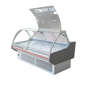 supermarket meat display counter deli serve over refrigerated cabinets