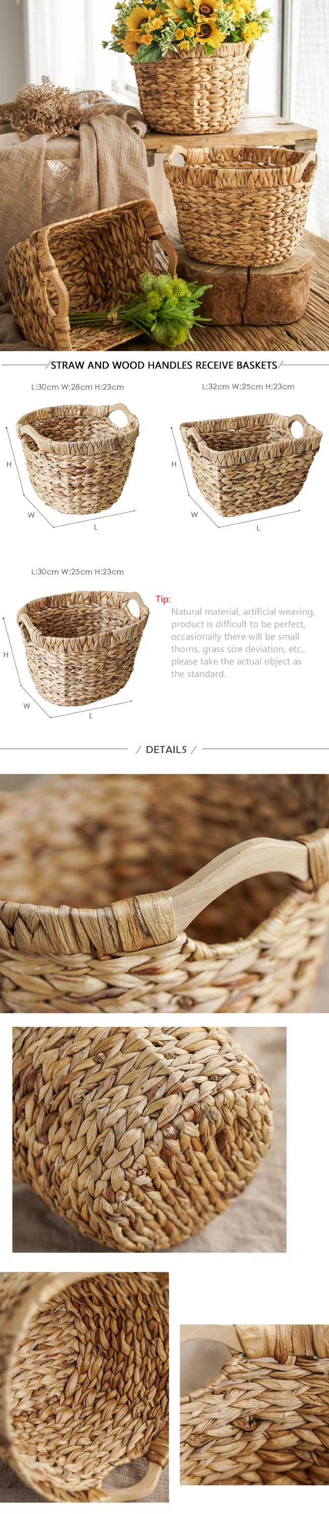 Handmade water hyacinth flower pot flower basket with handle