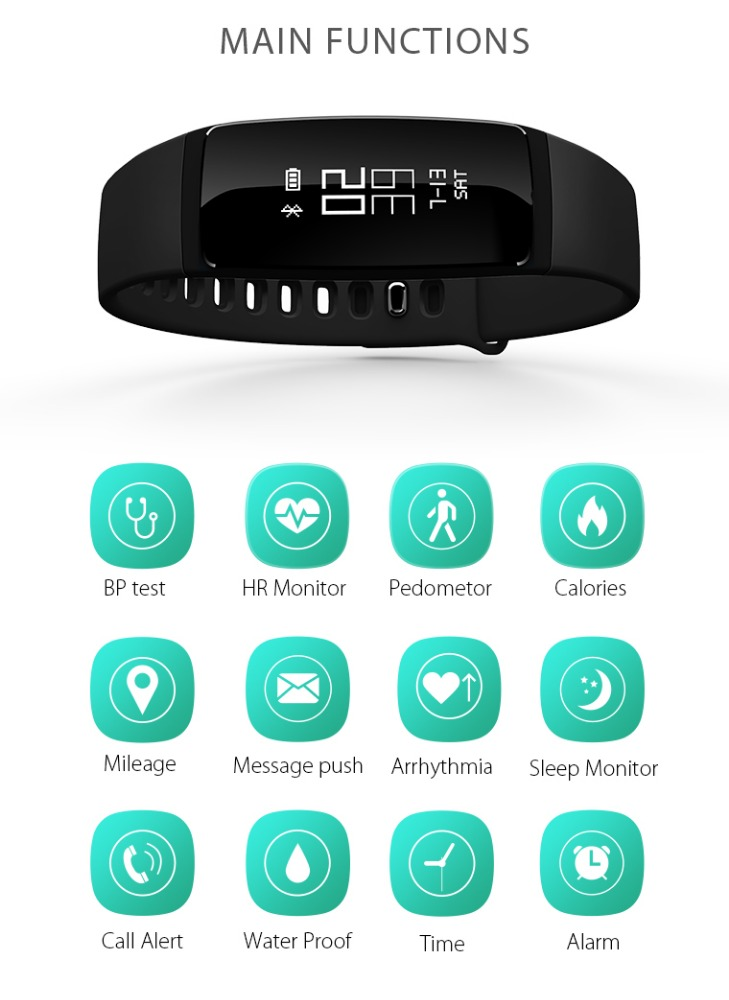 Smart Watch Wristband OLED Display Heart Rate Monitoring IP67 Waterproof Measuring Blood Pressure