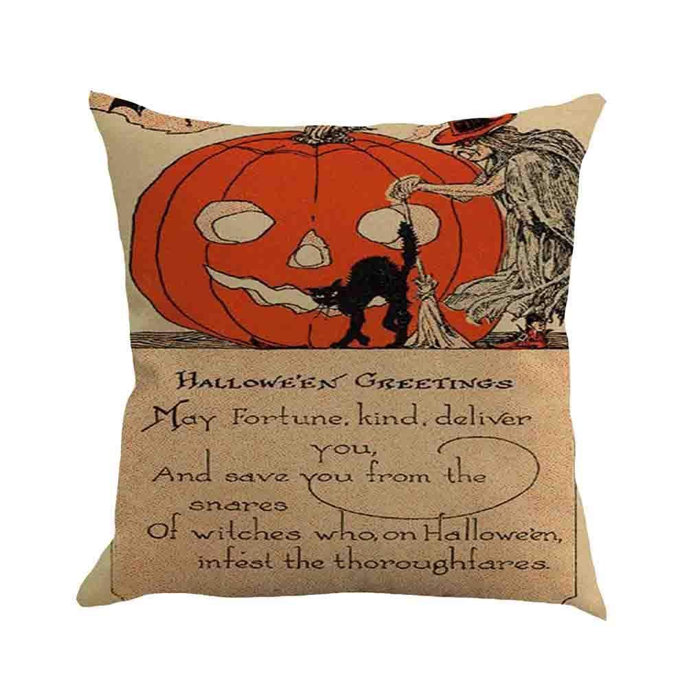 Happy Halloween Pillow Case Sofa Waist Throw Cushion Cover-2018Newest Home Decor (D, One Size)