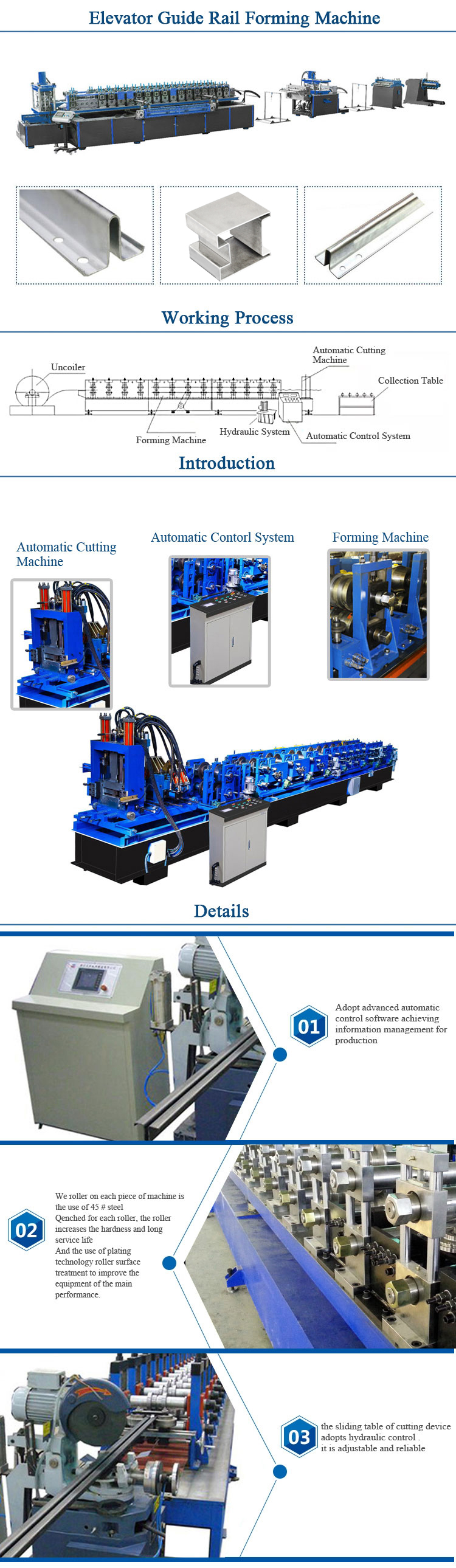 Steel Profile Elevator Guide Rail Roll Forming Machine for Sale