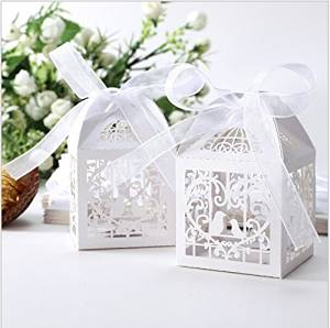 Saitec ® 50 Pack White Love Birds Laser Cut Favor Candy Box Bomboniere with Ribbons Bridal Shower Wedding Party Favors/ Love Heart and bird Laser Cut Candy Gift Boxes With Ribbon Wedding Party Favor Creative Favor Bags/ Laser Cut birds Wedding Favor Box Birthday Shower Party Candy Boxes Bomboniere