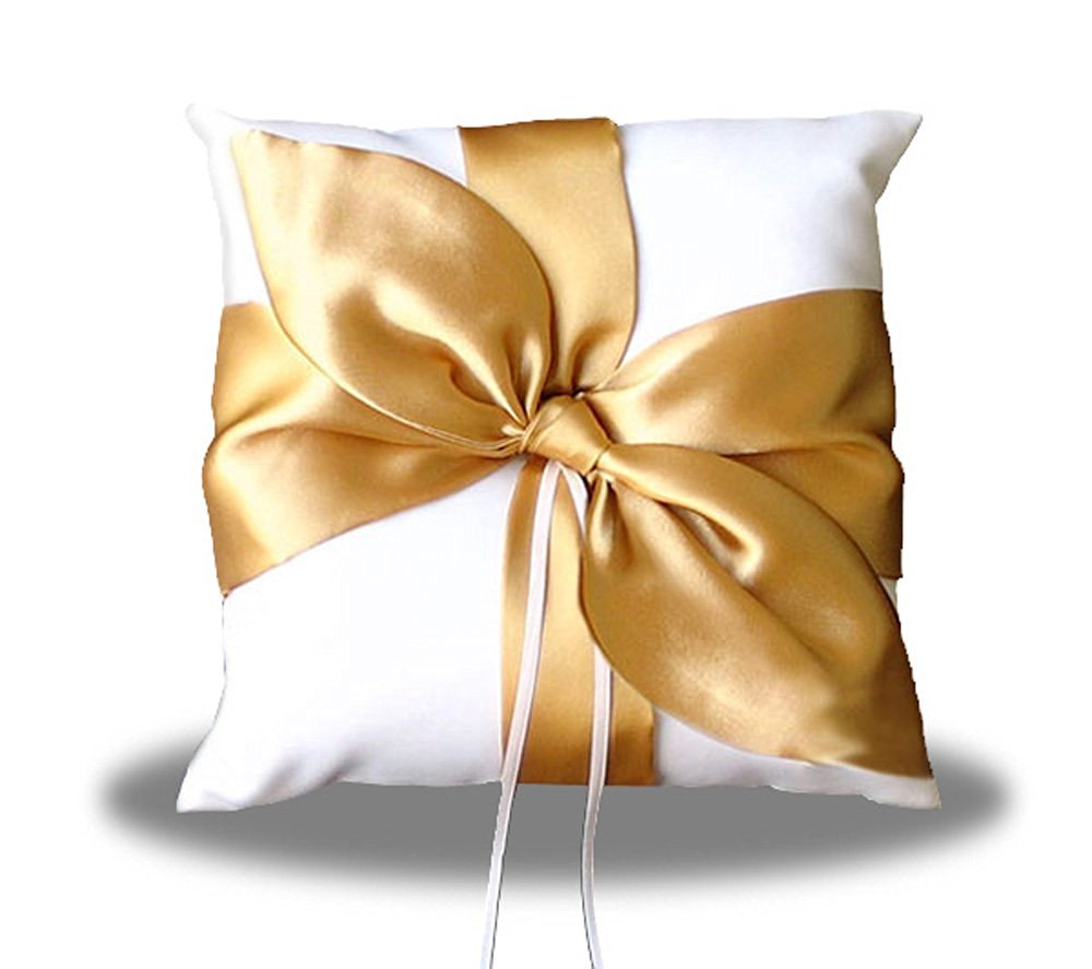 SACASUSA(TM) GOLD Satin Bow Ivory Wedding Ring pillow bearer
