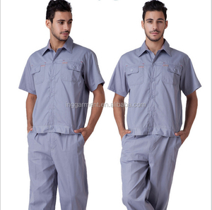 Summer Mechanic Men's Poly Cotton Twill Fabric Work Uniform