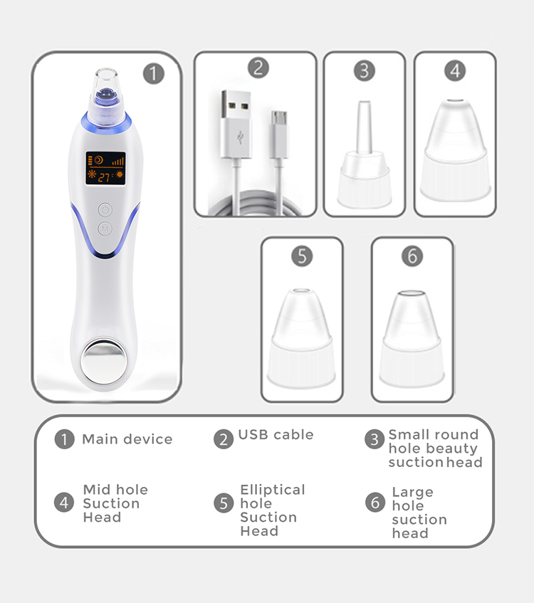New design electric hot cool massage facial pore cleanser acne removal comedone suction blackhead extractor
