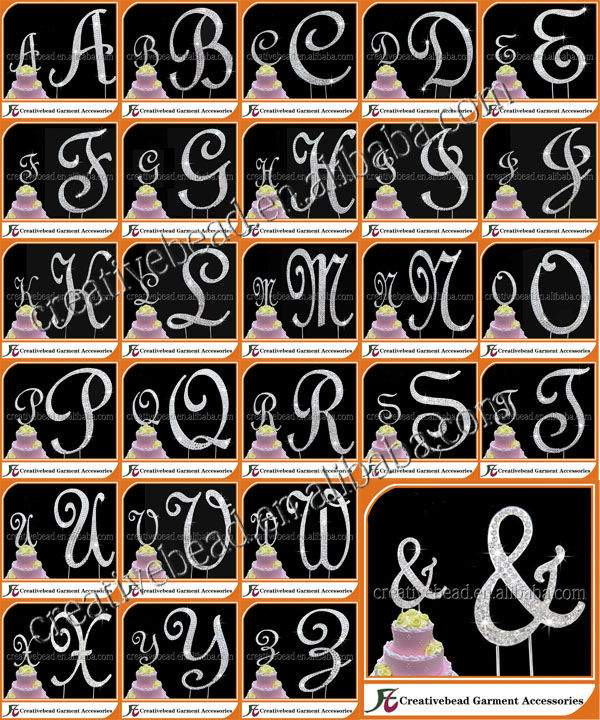 2018 Hot Sale For Rhinestone Cake Toppers 27 Style In Set For Letter