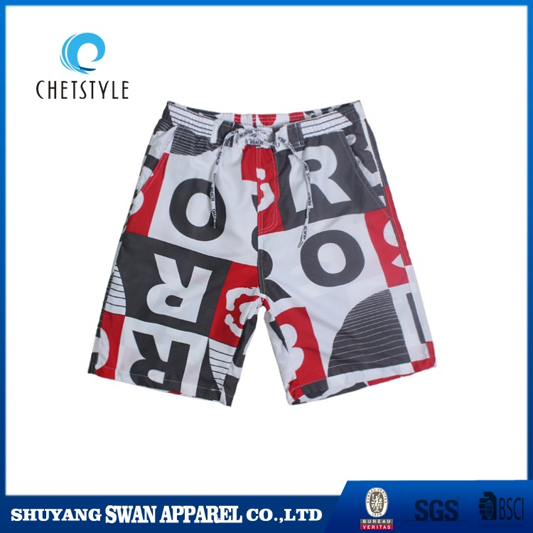 2017 new fabric 4 way stretch men digital printing beach shorts boardshorts wholesale factory price
