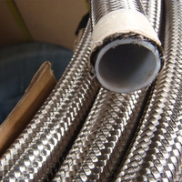 High pressure 1 meter stainless steel braided teflon PTFE fuel oil hose