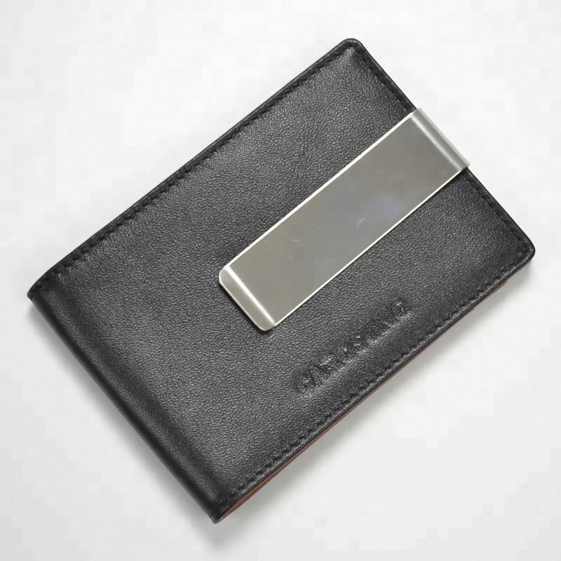 Design fashion custom bifold rfid blocking slim genuine leather magnet money clip <strong>wallet</strong>