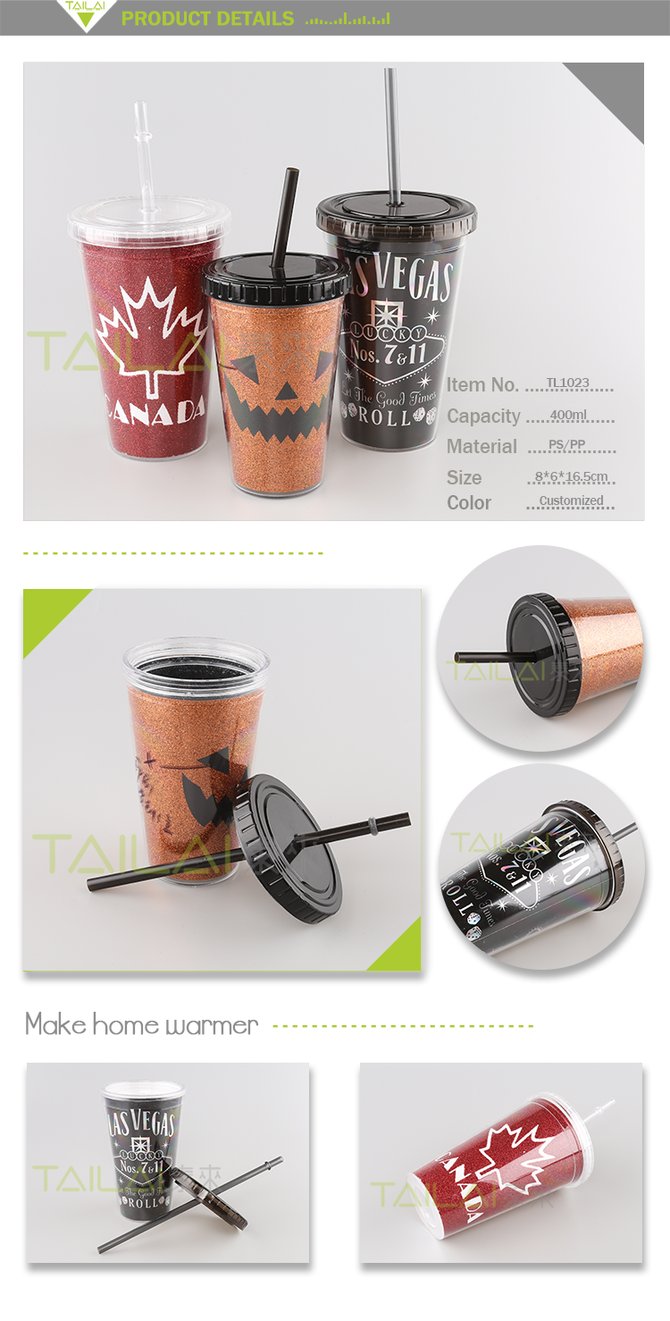 Factory price innovative mug drinking halloween plastic cup with straw and lid