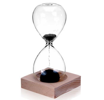 Magnetic Sand Timer Hourglass with Beech Wood Base