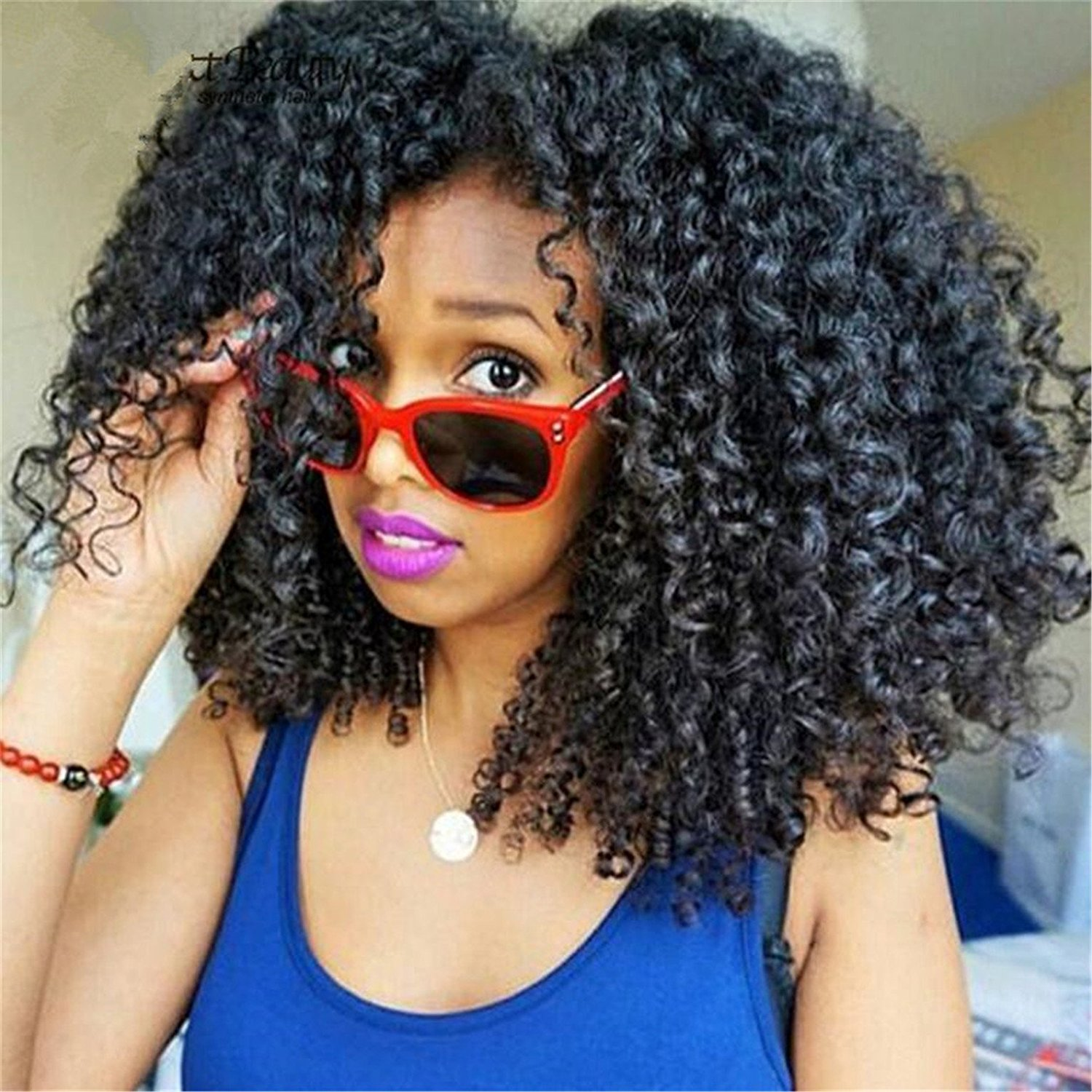 ATOZWIG Afro Kinky Curly Synthetic Wigs For African American Heat Resistant Kinky Curly Short Synthetic Wigs for Black Women