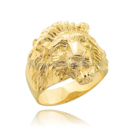 Men's Solid 18k Yellow gold lion head ring