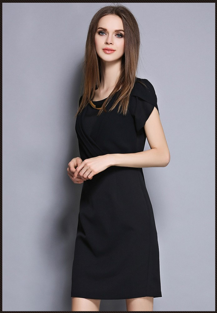 Free Shipping Fashion Elegant Ladies Office Wear Dresses Black Short