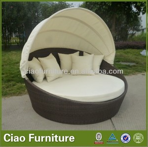 Outdoor PE rattan round lounge bed with canopy