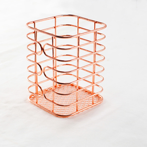Wideny Office & School iron mesh Desk desktop WIRE metal Rose Gold square magnet pen pencil cup holder