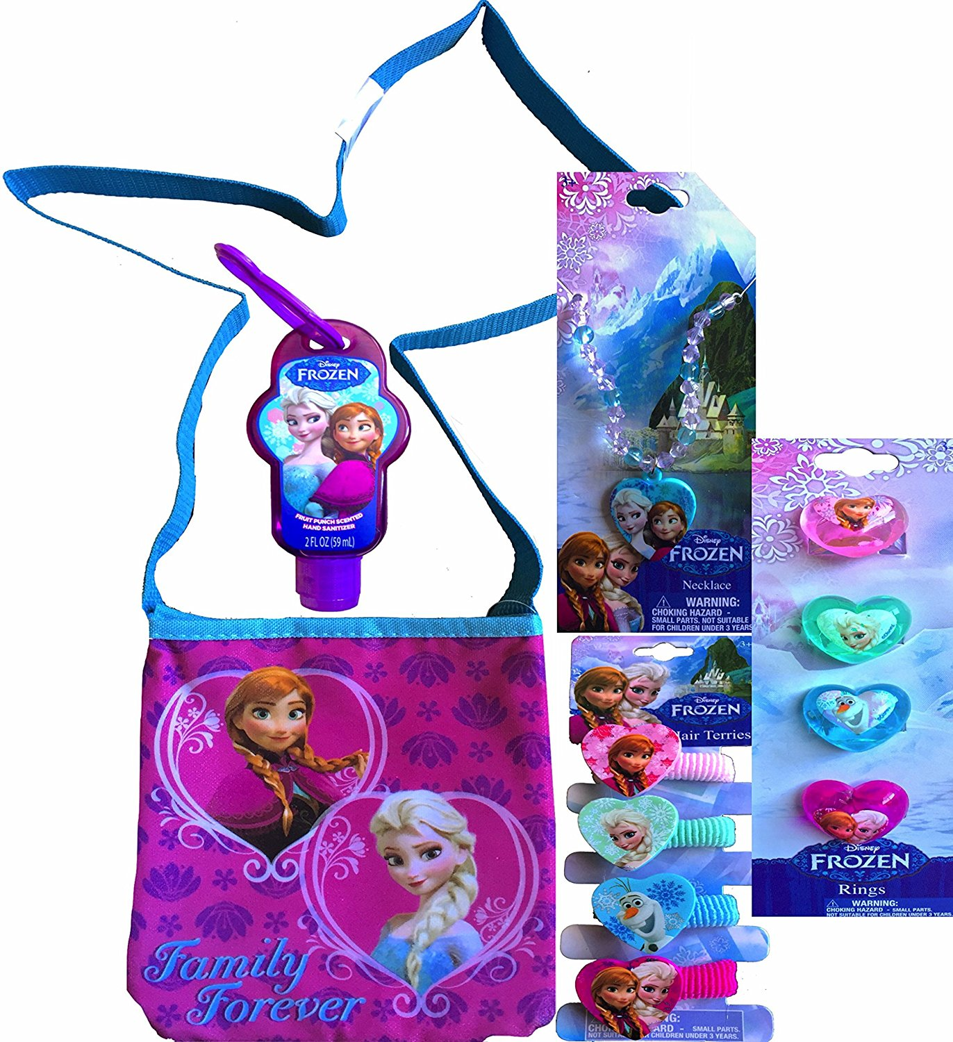 Disney Frozen Mini Bag with Accessories Includes Disney Frozen Necklace Disney Frozen Rings and Disney Frozen Hair Terries with Handy Clip on Hand Sanitizer