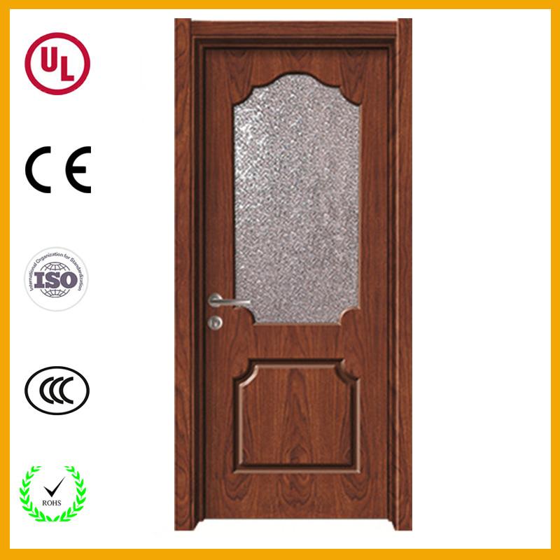 Whole Glass Insert Solid Wood Interior Door Half Wooden