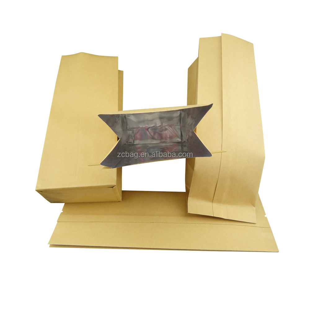 Recycled laminated multiple layer Kraft paper aluminum foil bag tin tie coffee bean packaging bags with degassing valve