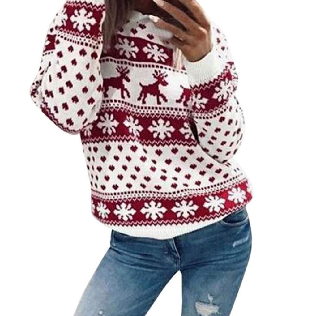 9360ad81429bb Get Quotations · Aurorax Women Ugly Christmas Sweatshirt Casual Long Sleeve  Christmas Santa Snowflake Printed Black Sweatshirts Off Shoulder