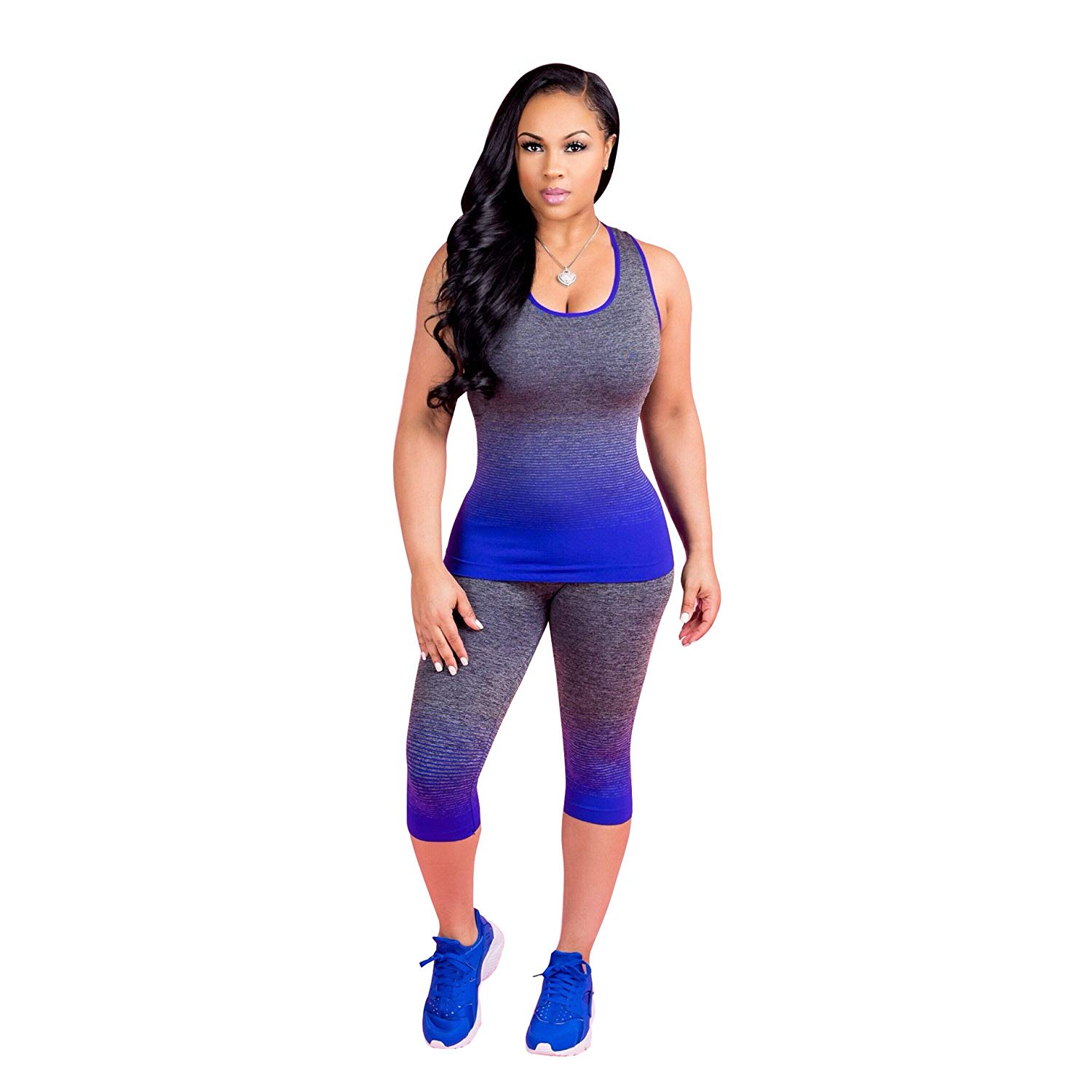 3deebae40c57 Get Quotations · Sexy Women Sleeveless Racerback Yoga Tank Top Capris  Tights Pants Sweatsuit Two Piece Outfits Jumpsuits