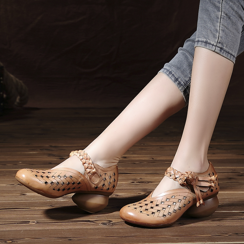 woman leather thick leather heels shoes women italian weaving high 2017 heel new shoes handmade arrivals dress genuine d5WwPn