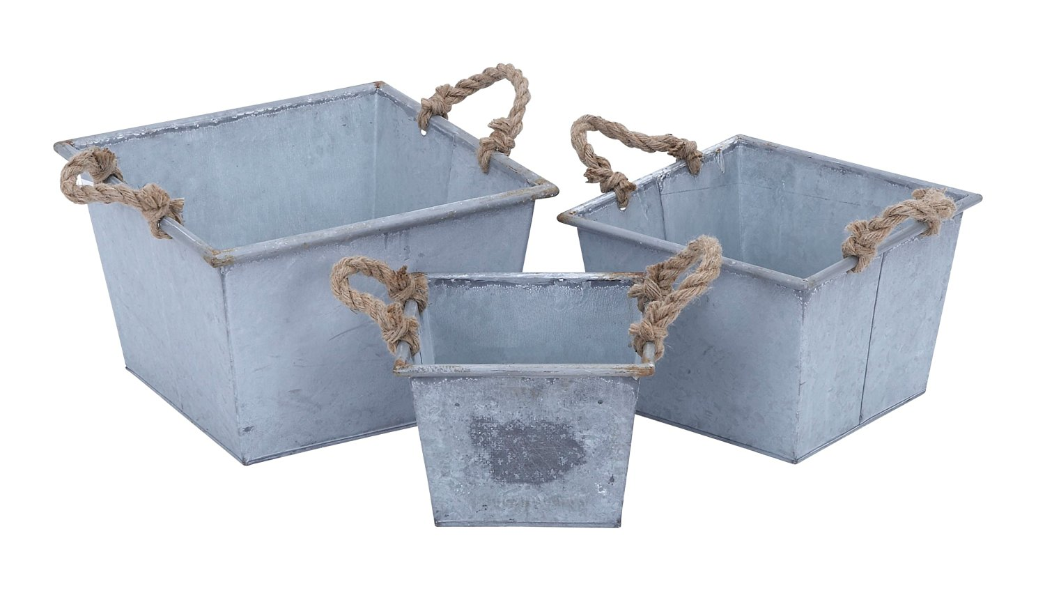 Plutus Brands Planter Designed with Rope Handles, Set of 3