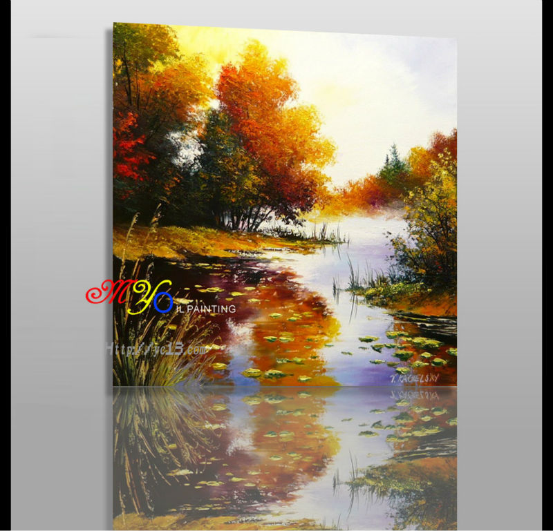 Beautiful landscape scenery oil painting on canvas wall art picture hand paint guangzhou factory - A beautiful painting on wall ...
