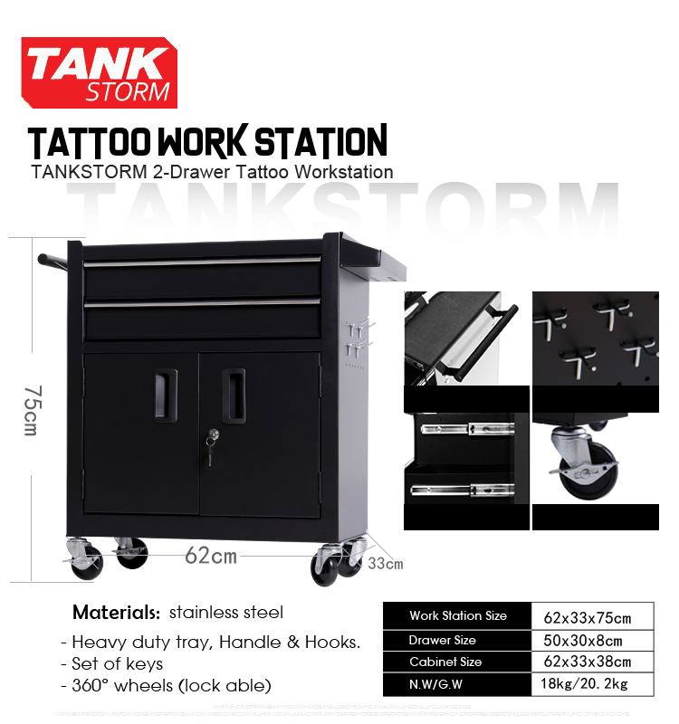Tankstorm Tattoo Workstation Tattoo Studio Working Cabinet